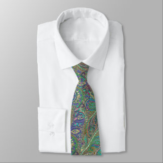 Paisley Peacock Colors Wedding Tie