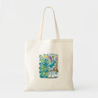 paisley peacock hand tote canvas bags