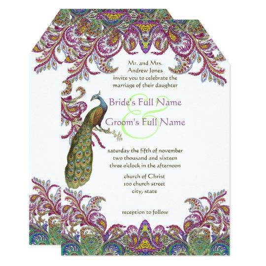 Paisley Peacock Pink and Green Wedding Card