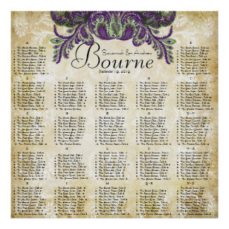 Paisley Peacock Purple Gold Wedding Seating Chart Poster