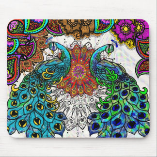 Paisley Peacocks Mouse Pad