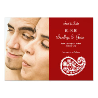 Paisley Photo Save the Date - Sindoor Card