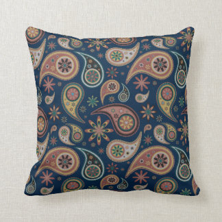Paisley Pillow - Chocolate/Blue - 2