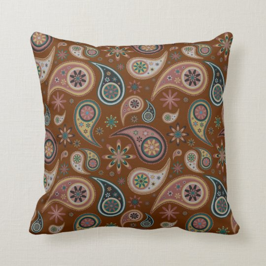 Paisley Pillow - Chocolate/Blue - 3