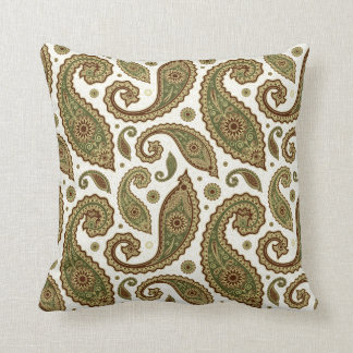 Paisley Pillow - Green/Brown - 1
