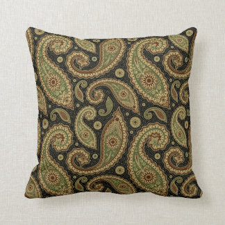 Paisley Pillow - Green/Brown - 2