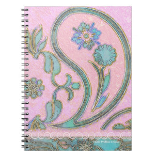 Paisley Pink and Blue Spiral Note Books