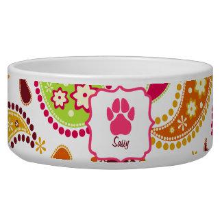 Paisley & Pink Pawprint Pet Bowl Dog Water Bowl