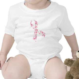 paisley pink ribbon rompers