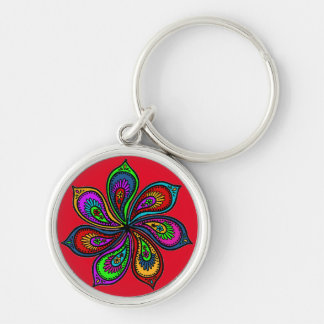 Paisley Pinwheel of Colors Premium Keychain red