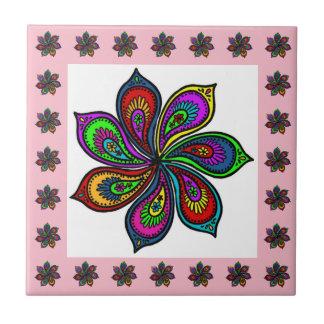 Paisley Pinwheel of Colors Tile