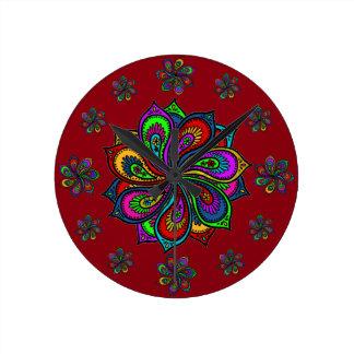 Paisley Pinwheel of Colors Wall Clock