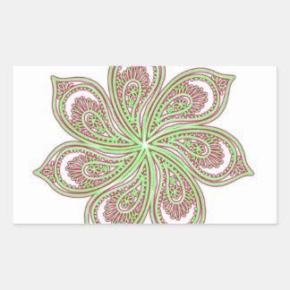Paisley Pinwheel Pink Green Rectangular Sticker