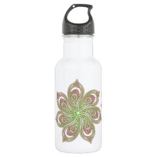 Paisley Pinwheel Pink Green Stainless Steel Water Bottle
