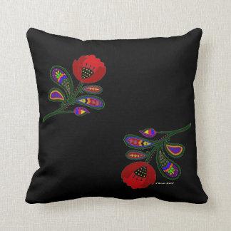 Paisley Poppy Ukrainian Folk Art Throw Pillow