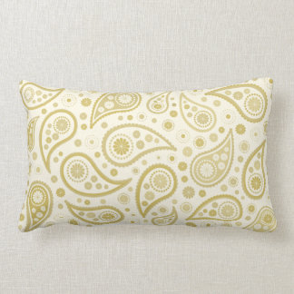 Paisley Print in Cream & Golds Throw Pillow