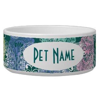 Paisley Print Personalized Pet Bowl Pet Water Bowl