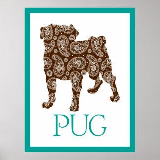 Paisley Pug Poster