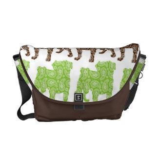Paisley Pugs Brown and Green Messenger Bag