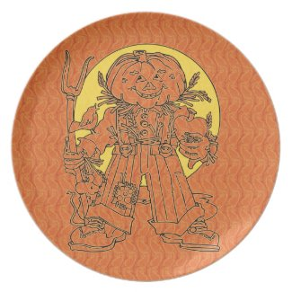 Paisley Pumpkin Man Plate