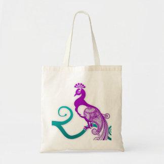 Paisley Purple Peacock Decorative Tote Bag