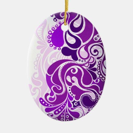 Paisley Purples Ceramic Ornament