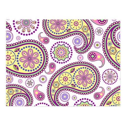 Paisley púrpura, amarilla y rosada tarjetas postales