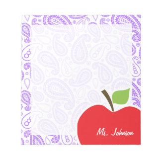 Paisley púrpura Apple para el profesor Blocs De Papel