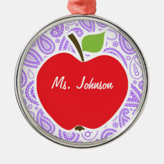 Paisley púrpura; Apple para el profesor Adorno Redondo Plateado