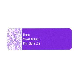 Paisley púrpura de moda etiquetas de remite