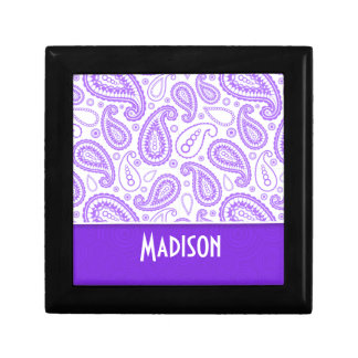 Paisley púrpura de moda cajas de recuerdo