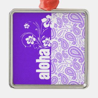 Paisley púrpura; Hawaiana, hibisco Adorno Cuadrado Plateado