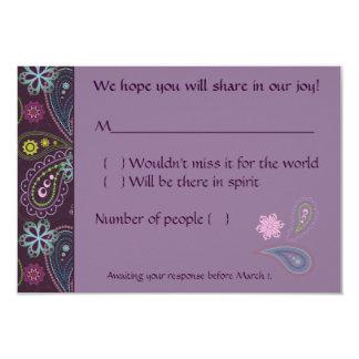 Paisley púrpura invitación 8,9 x 12,7 cm