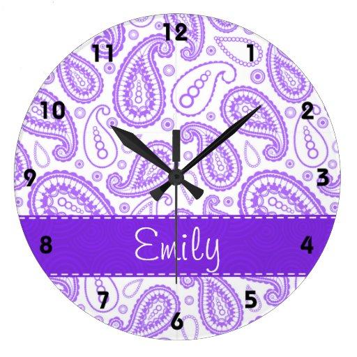 Paisley púrpura linda reloj redondo grande