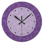 Paisley púrpura oscura relojes de pared