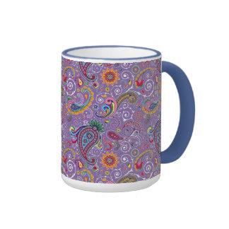 Paisley púrpura psicodélica taza de dos colores