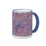 Paisley púrpura psicodélica tazas de café