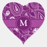 Paisley púrpura y blanca colcomanias de corazon personalizadas