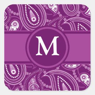 Paisley púrpura y blanca calcomanía cuadradas