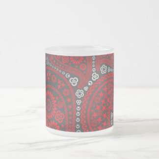 Paisley Red Black 10 Oz Frosted Glass Coffee Mug
