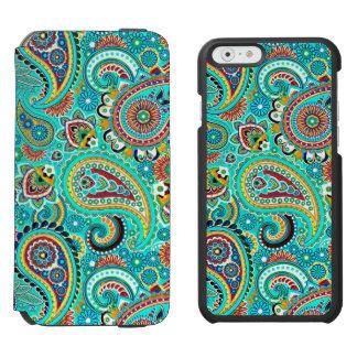 Paisley retra colorida funda billetera para iPhone 6 watson