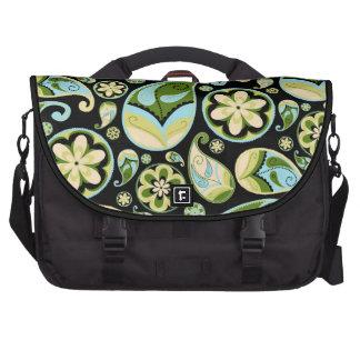 Paisley retra verde y azul bolsas para portátil