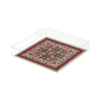 Paisley Riot Green and Wine Acrylic Serving Tray