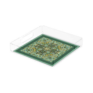 Paisley Riot Greens and Golds Acrylic Serving Tray