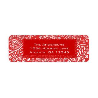 Paisley roja remolina el remite etiquetas de remite