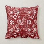 Paisley rojo oscuro; Floral Almohadas