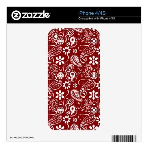 Paisley rojo oscuro; Floral iPhone 4S Calcomanías