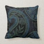 Paisley romántica de la turquesa, azul y verde cojín
