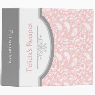 Paisley rosada blanca con receta del marco