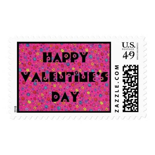 Paisley rosada - el día de San Valentín feliz - Sello Postal